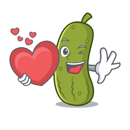 With heart pickle mascot cartoon style vector illustration
