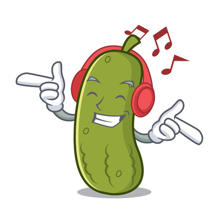 Listening music pickle mascot cartoon style isolated on white