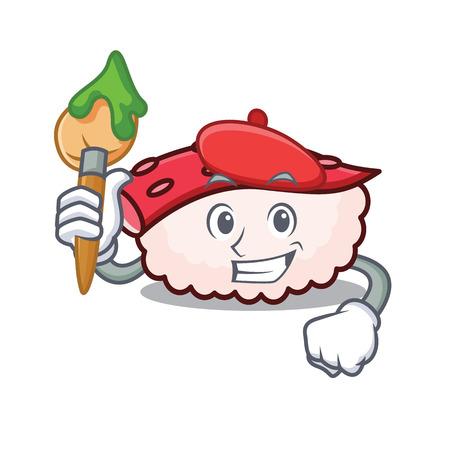 Artist tako sushi character cartoon vector illustration