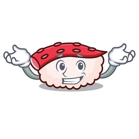 Grinning tako sushi character cartoon vector illustration