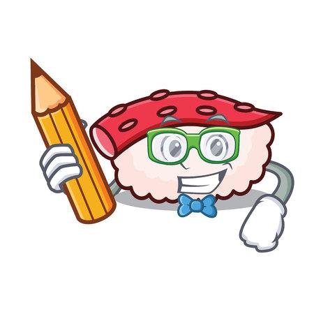 Student tako sushi character cartoon isolated on white  イラスト・ベクター素材