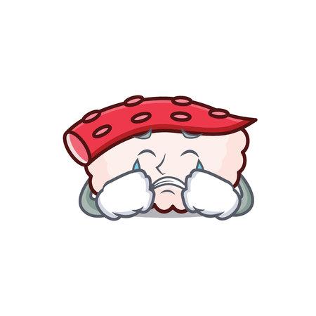 Crying tako sushi mascot cartoon. Illustration
