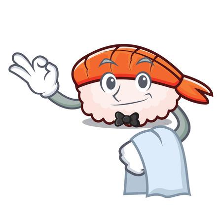 Waiter ebi sushi mascot cartoon vector illustration
