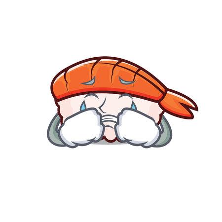 Crying ebi sushi mascot cartoon vector illustration