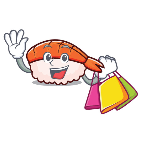Shopping ebi sushi character cartoon vector illustration 矢量图像
