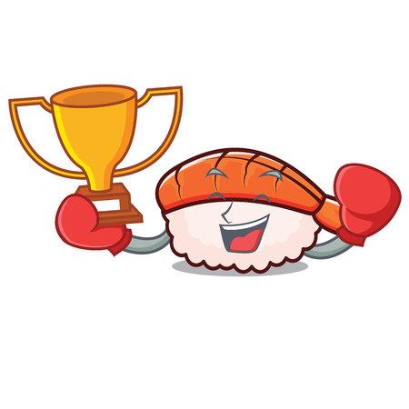 Boxing winner ebi sushi mascot cartoon vector illustration