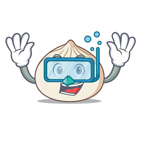 Diving dimsum character cartoon style