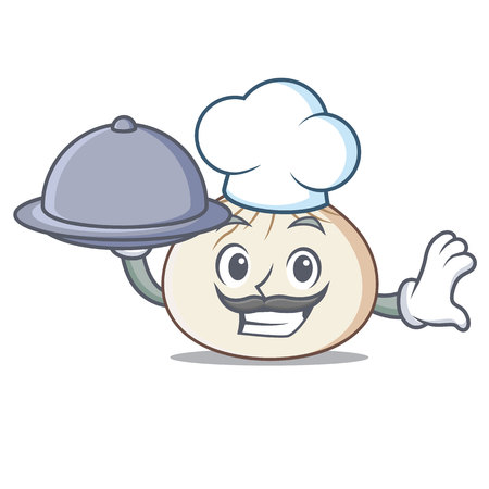 Chef with food dimsum mascot cartoon style vector illustration Vectores
