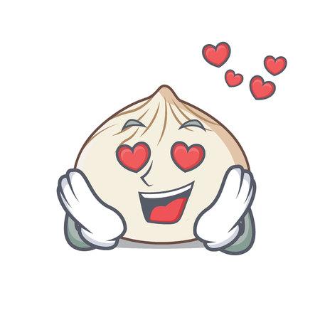 In love dimsum mascot cartoon style vector illustration Vectores