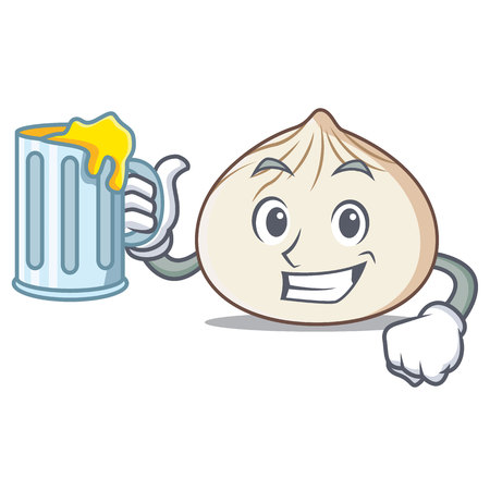 With Juice dimsum mascot cartoon style vector illustration