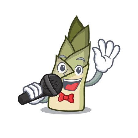 Singing bamboo shoot mascot cartoon vector illusration