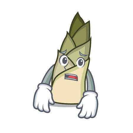 Afraid bamboo shoot mascot cartoon vector illusration