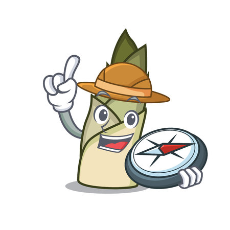 Explorer bamboo shoot mascot cartoon vector illusration