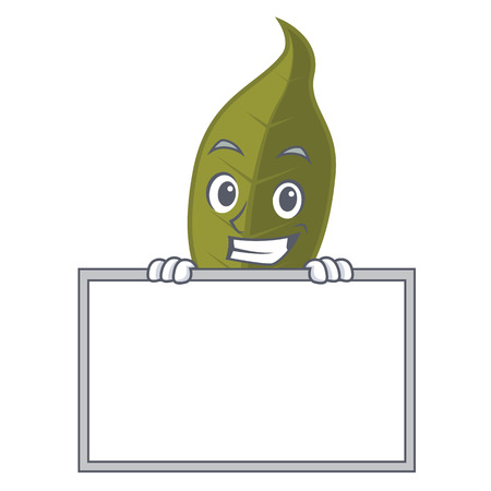 Grinning with board bay leaf character cartoon vector illustration Illustration