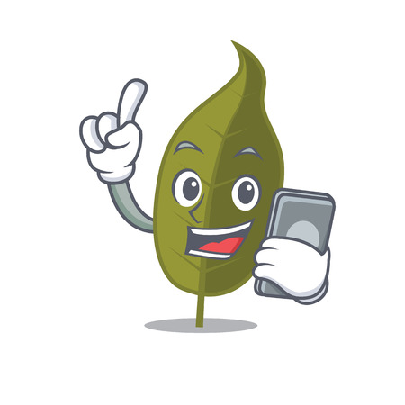 With phone bay leaf character cartoon