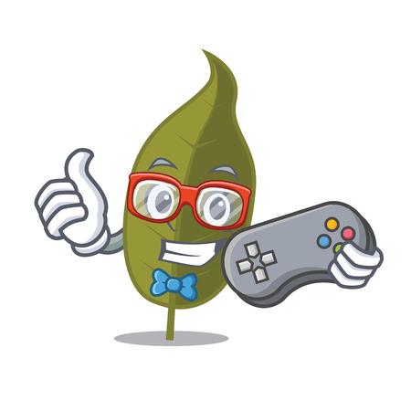 Gamer bay leaf mascot cartoon vector illustration Illustration