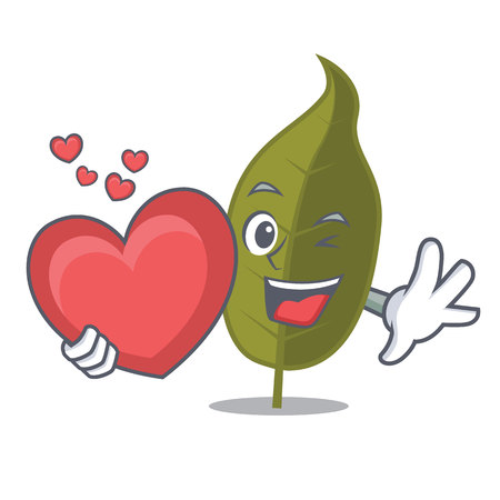 With heart bay leaf mascot cartoon vector illustration. Illustration