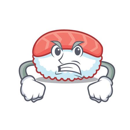 Angry sushi salmon mascot cartoon