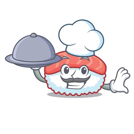 Chef with food sushi salmon mascot cartoon vector illustration