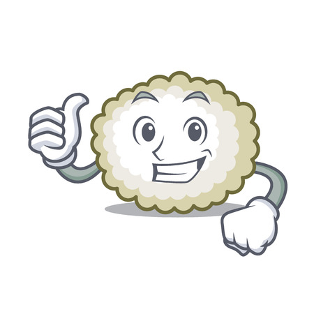 Thumbs up cotton ball character cartoon vector illiustration