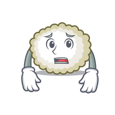 Afraid cotton ball mascot cartoon vector illustration Illustration