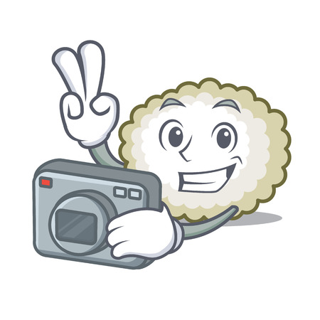 Photographer cotton ball mascot cartoon vector illustration