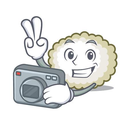 Photographer cotton ball mascot cartoon vector illustration