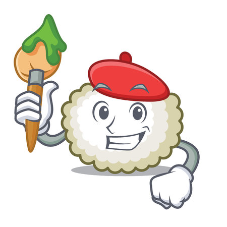 Artist cotton ball character cartoon vector illustration