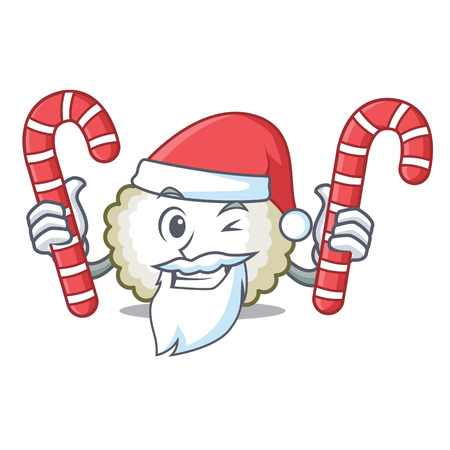 Santa with candy cotton ball mascot cartoon vector illiustration