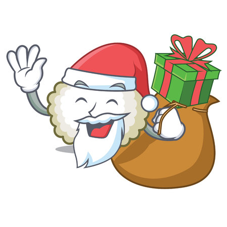 Santa with gift cotton ball mascot cartoon vector illiustration