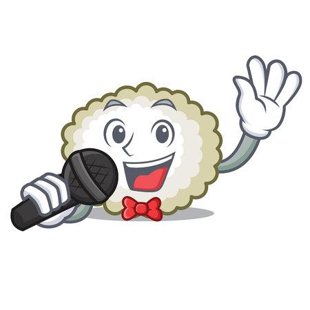 Singing cotton ball mascot icon