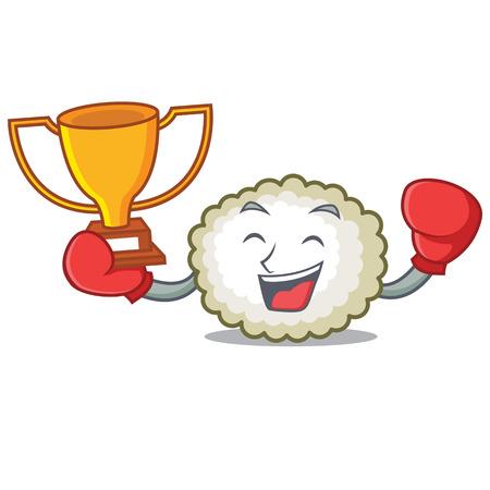 Boxing winner cotton ball mascot cartoon vector illustration