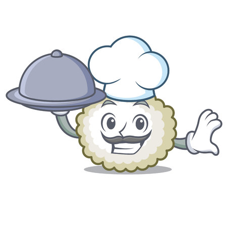 Chef with food cotton ball mascot cartoon vector illustration Illustration