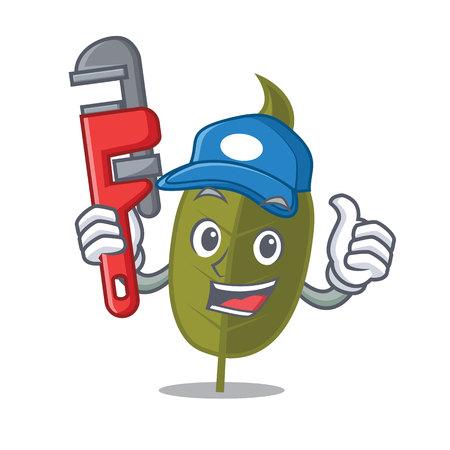 Plumber bay leaf mascot cartoon