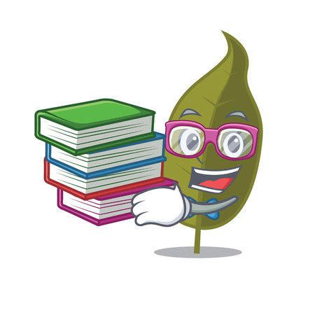 Student with book bay leaf mascot cartoon