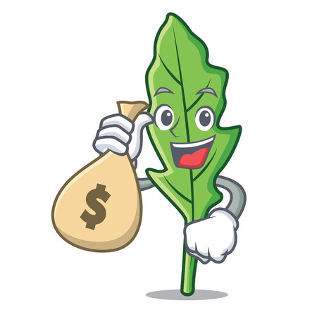 With money bag arugula character cartoon style vector illustration