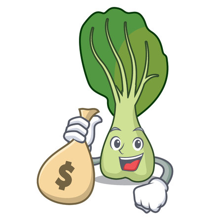 With money bag bok choy character cartoon vector illustration