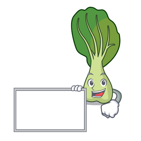 With board bok choy character cartoon vector illustration