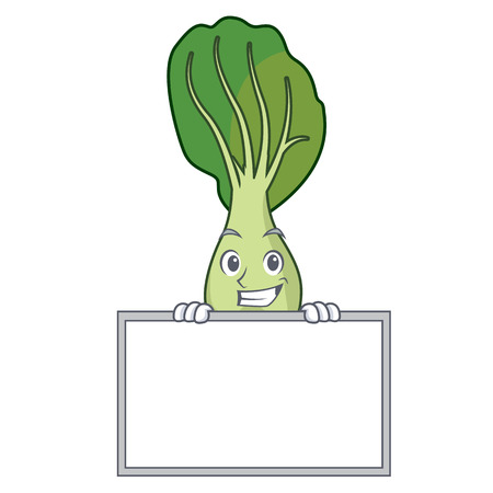 Grinning with board bok choy character cartoon vector illustration