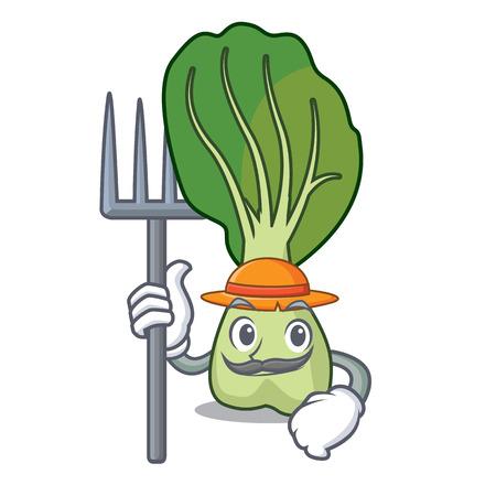 Farmer bok choy character cartoon vector illustration