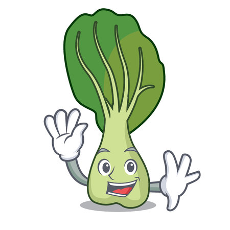 Waving bok choy character cartoon vector illustration