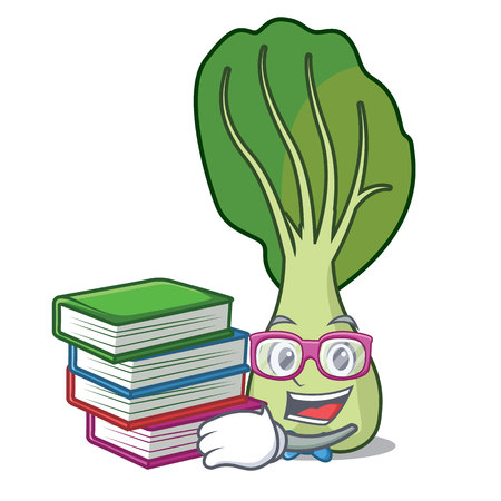 Student with book bok choy mascot cartoon vector illustration