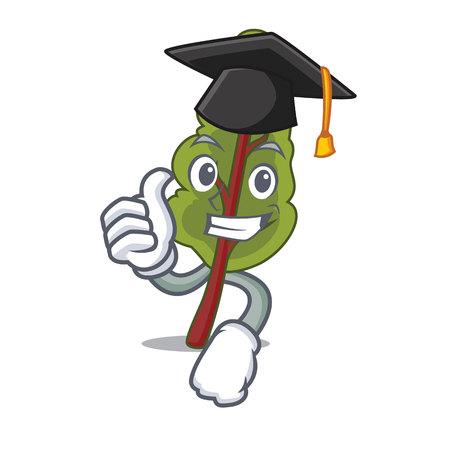 Graduation chard character cartoon style isolated on plain background. Illustration