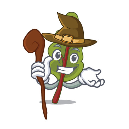 Witch chard mascot cartoon style isolated on plain background. Illustration