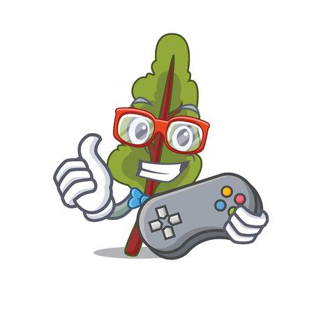 Gamer chard mascot cartoon style isolated on plain background.