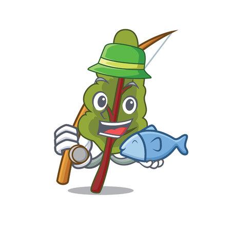 Fishing chard mascot cartoon style isolated on plain background. Çizim