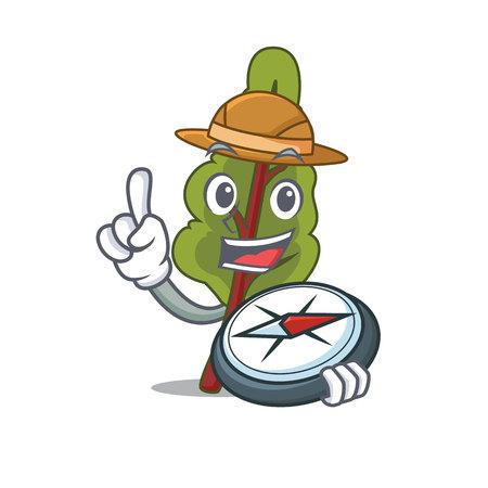 Explorer chard mascot cartoon style. Illustration