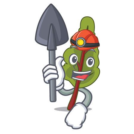 Miner chard mascot cartoon style vector illustration