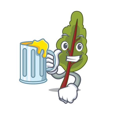 With Juice chard mascot cartoon style vector illustration Illustration