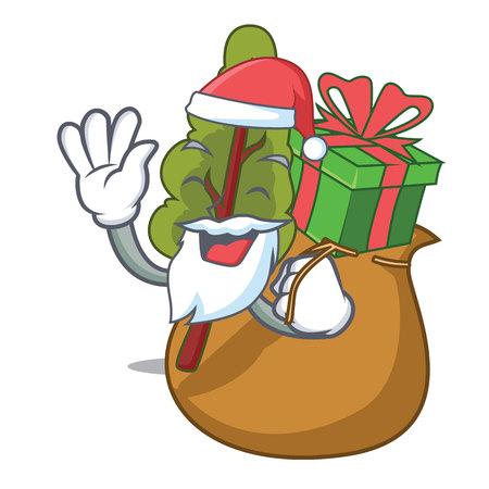 Santa with gift chard mascot cartoon style vector illustration Illustration